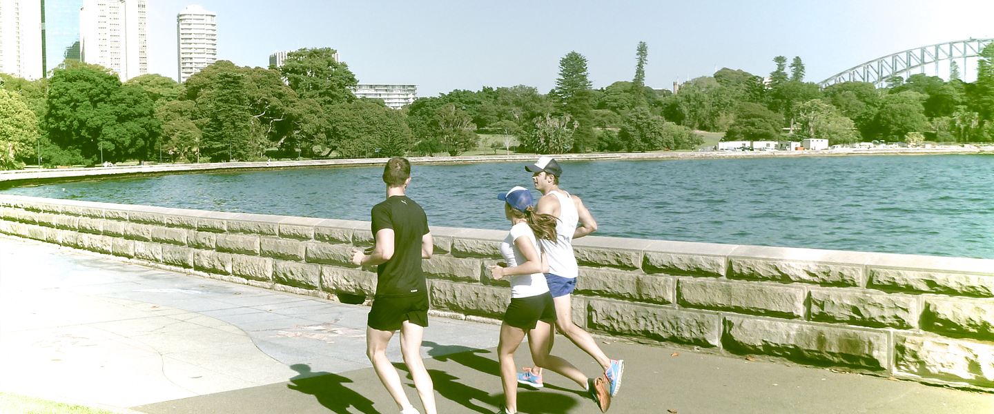 Runners with Sydney Backdrop